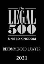 The Legal 500 UK 2021 logo Recommended Lawyer
